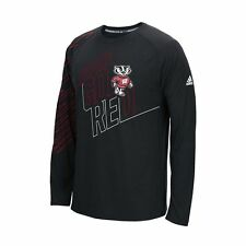WISCONSIN BADGERS ADIDAS FREQUENCY CLIMALITE PERFORMANCE LONG SLEEVE SHIRT MEN'S