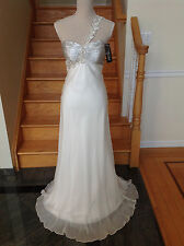 New FAVIANA 6506 White Long Prom Formal PAGEANT DRESS GOWN Size 8
