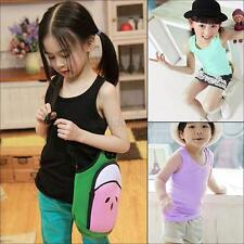 Hot Kids Girls Boys Sleeveless Tee Casual Modal Vest Tank Tops T-shirt 2-7Y New