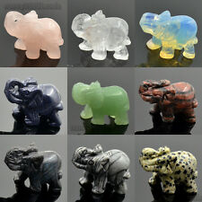 Sculpture Hand Carved Natural Gemstone Elephant Figurine 40mm Aventurine Crystal