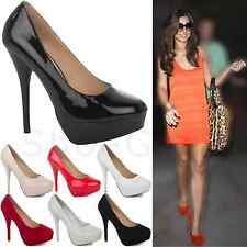 NEW WOMENS LADIES PLATFORM PARTY HIGH HEELS STILETTO COURT SHOES PUMPS SIZE 3-8