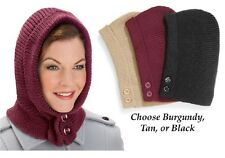 Womens Hooded Scarf Warm Neckwarmer Winter Hat Hood Wrap Black Burgundy Tan Gift