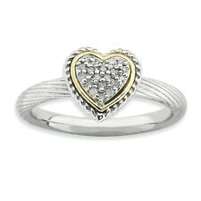 925 Sterling Silver Diamond Cluster Pave Heart Ring - 2.5mm