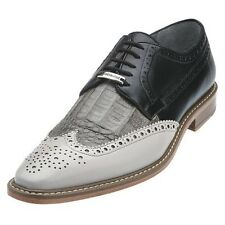 Belvedere Mens shoes Ciro Light Gray Black  Crocodile & Italian Calf Oxford 1616