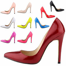 New Womens Ladies Partty Fashion Pointed Toe Shallow Leather High Heel Shoes