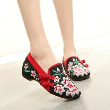 Fashion Women Vintage Chinese Flats Embroidered Floral Shoes Round Toe Flats K