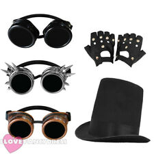 3 PIECE STEAMPUNK STOVEPIPE HAT, GOGGLES + GLOVES VICTORIAN SCI-FI FANCY DRESS