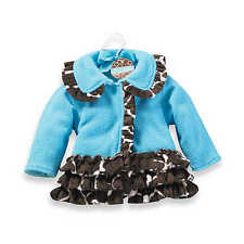 Mud Pie Wild Child Baby Girl Blue Fleece Giraffe Coat With Ruffles 190091