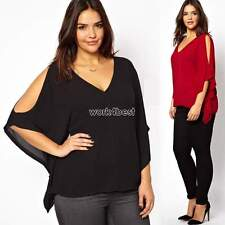 Womens Chiffon Casual V-Neck Plus Size Batwing Long Sleeve Loose Blouse Tops WT