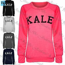 Womans Ladies Kale Print Fleece Baggy Full Sleeve Sweater Jumper Sweatshirt Tops
