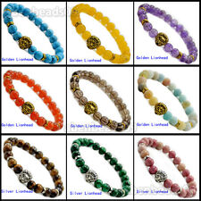 8mm Natural Gemstones Materials Silvery & Golden Lion Head Bead Charm Bracelets