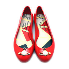 "NEW VIVIENNE WESTWOOD ANGLOMANIA X MELISSA Red ""SPACE LOVE II"" Orb Jelly Flats"