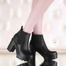 New Womens Leather High Block Heel Platform chelsea Ankle Boot Leather Plus Size