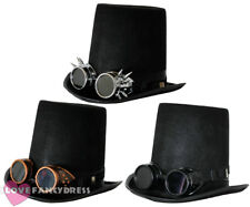 STEAMPUNK TOP HAT AND GOGGLES GOTHIC SCI FI VICTORIAN FANCY DRESS COSTUME SET