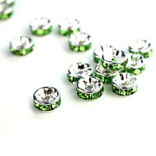 100Pcs 8mm Silver Plated Charm Czech Crystal Spacer Rondelle Beads Findings New