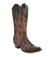 Corral Women's Brown Embossed & Studs Boots C3044