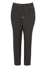 Bonmarche Womens Black Mono Tile Crepe Trouser Length 29 in - Up To Size 24