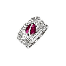 925 Sterling Silver Red & White Cubic Zirconia Cabochon Heart Swirl Ring