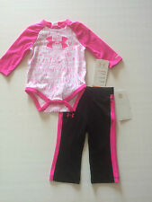 NWT Infant Girl's Under Armour UA Pink She's A Fighter 2 Piece Outfit