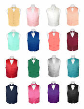 BOY'S Dress Vest and Boys BOW TIE Solid Color Bow Tie Set for Suit or Tuxedo