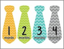 Months In Motion Baby Boy Monthly Stickers Milestone Month Sticker Tie Boys #700