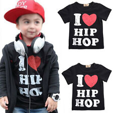 2016 New Fashion Baby Kids Summer I love Hip Hop Printed Short Sleeve Cotton Top
