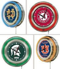 "Choose Your NCAA College Team 15"" Round Chrome Double Neon Ring Wall Clock"