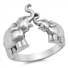 Plain Two Elephants .925 Sterling Silver Ring Sizes 4-10