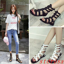 England Women Flat Heel Roman Sandals Shoes Rivet Back Zipper Size Black White