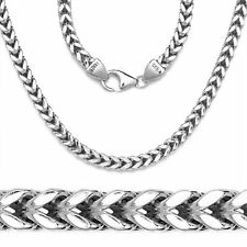 Mens Franco Italy Chain 14K White Gold 925 Sterling Silver Necklace