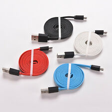 6Ft 10Ft Flat Noodle Micro USB Charger Sync Data Cable Cord fr AndroidPhone FM