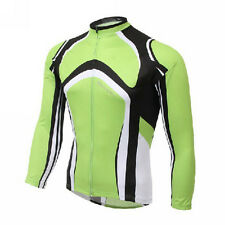 Green Men's Long Sleeve Fleece Cycling Jersey Bike Thermal Cycling Shirt S-5XL