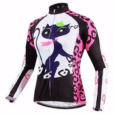 Women's Fleece Thermal Cycling Jacket Long Sleeve Winter Cycling Jersey Pink