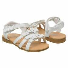 """NEW Toddler's Buster Brown """"Ellie"""" - White sandals w/ velcro straps and flowers"""