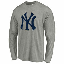 Men's Ash New York Yankees Primary Logo Long Sleeve Tri-Blend T-Shirt - MLB
