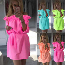 Sexy Off Shoulder Ruffle Dress Casual Ladies Loose Party Clubwear Mini Dress New
