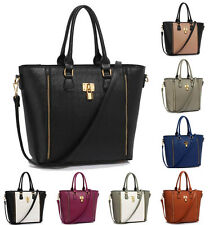 Ladies Celebrity Style Padlock Tote Handbag Womens Designer Faux Leather Bag