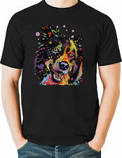 Happy Border Collie T Shirt Neon Bright Graphic Dog Mens Small to 6XL & Big Tall