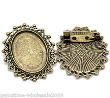 Wholesale Lots Bronze Tone Oval Cameo Frame Setting Brooches 3.5x3cm
