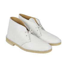 Clarks Desert Boot Mens White Leather Casual Dress Lace Up Chukkas Shoes