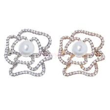 Ladies Hollow Cutout Rose Flower Diamante Crystal Rhinestone Brooches Pins