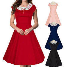 Women's Lace Neck Vintage 1950's Rockabilly Style Swing Evening Party Prom Dress