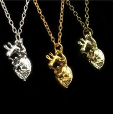 Human Anatomical Heart Pendant Necklace Silver Gold Biology Goth Emo Jewellery