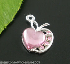 Wholesale Lots Silver Plated Pink Rhinestone Love Heart Charm Pendants 20x13mm