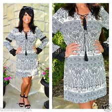 BOHO Gypsy Bandana Paisley Printed Lace Up Tassel Tie Dress - Tunic Black Denim