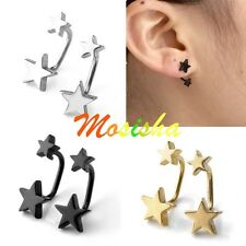 Pair Punk Cool Stainless Steel Barbell Double Stars Ear Stud Earring Mens Gift