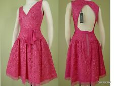 NWT($348) BCBG MAXAZRIA Size 2/4 KATARINA Sequined cut-out lace Open Back Dress