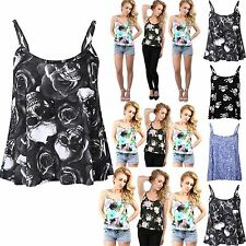 Womens Ladies Printed Floral Camisole Strappy Flared Swing Vest Top