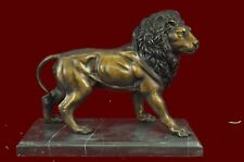 Real Bronze Metal Statue on Marble Base Male Lion Sculpture Art Deco Figurine