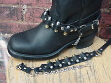 WESTERN BOOTS BOOT CHAINS BLACK TOPGRAIN COWHIDE LEATHER WITH REAL 9MM BULLETS